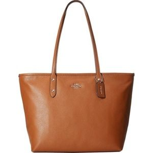 Coach Pebbled Leather City Zip Tote